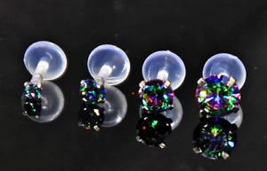 Prong BLACK RAINBOW CRYSTAL Zircon Push in Bioflex Labret stud Lip Tragus helix