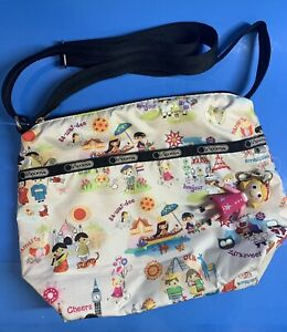 "LeSportsac Disney ""Its a Small World"" Nylon Crossbody Shoulder Bag 12""x9"" RARE"