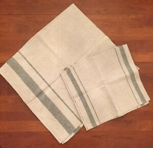 New Natural Linen Tablecloth With Stripe w 4 dinner napkins.  44 X 48.