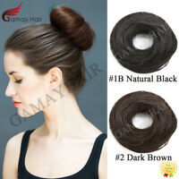 US Human Hair Donut Bun Natural Straight Updo Scrunchie Hair Extension Ponytail