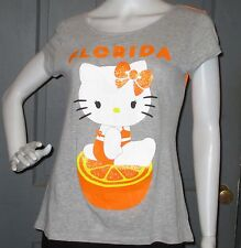 HELLO KITTY SANRIO juniors FLORIDA t-shirt top M 7 9 tee orange graphic EUC