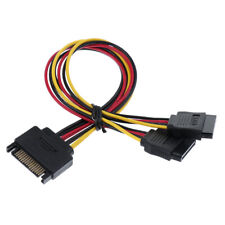 SATA 15pin Male to 2 Dual Female Extender Y-Splitter Cable 200mm/8 Inch