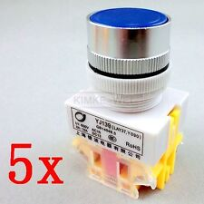 5x Blue Momentary OFF-ON N / O Push Button Switches 600V 10A 22mm Y090 LAY37