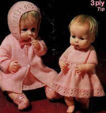 "295 3ply Doll Prem Girl Hat Coat Dress Booties 14/16"" & 18/20"" Knitting Pattern"