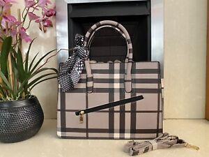 Ladies office bag tote shoulder messenger leather bag medium brown check fashion