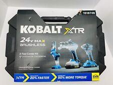 Kobalt Xtr 3-Tool 24-Volt Max Brushless Power Tool Combo Kit #1518746 -NEW