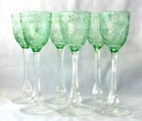 "6 Available 1 Vintage 8 5/8"" Tall Webb Corbett Cameo Glass Intaglio Green Wine"