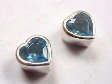 Blue Topaz Faceted Heart Stud Earrings 925 Sterling Silver Corona Sun Jewelry