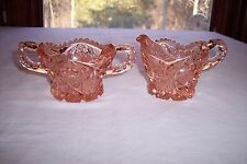 Imperial Pink, #526, Pressed Glass Star & Cane Open Sugar Bowl & Creamer