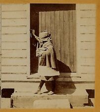 Red Riding Hood prepares to Meet Her Doom!  1870s Stereoview