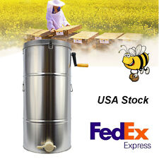 Two 2 Frame Stainless Steel Bee Honey Extractor Honeycomb Drum Beekeeping supply