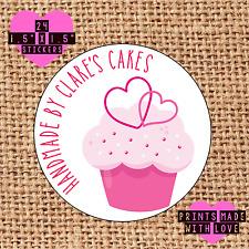 Personalised 24 handmade by labels cupcake cake baker kawaii pink double heart n