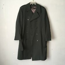 Freed & Freed Men's Double Breasted 100% Wool Trench Coat Dark Green Size 7038