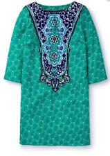 BODEN INGRID GREEN & BLUE PRINT SILK BLEND SHIFT DRESS U.S. SIZE 8R