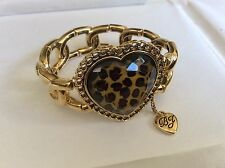 Betsey Johnson gold tone stretch link Leopard wild pattern Heart Bracelet