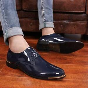 Men's Leather Formal Oxfords Shiny Casual Dress Lace up Wedding Wing Tip Shoes