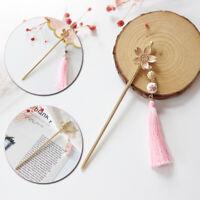 Retro Pink Flower Tassel Hairpin Hair Stick Kanzashi for Hanfu Kimono Cheongsam