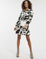 ASOS DESIGN Long Sleeve Shirt Dress in Cow Print - SIZE UK 6 /EU 36
