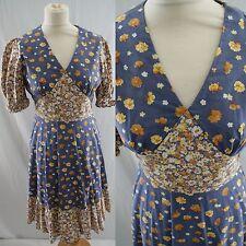 VTG 1970s Cute Dress 10 Hippy Puff Sleeve Floral Festival Boho Mini Gypsy Folk