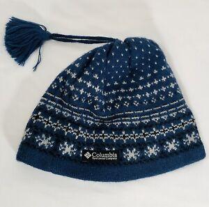 Columbia Blue Fleece Beanie Lined Unisex Wool Winter Ski Cap Hat Alpine One Size