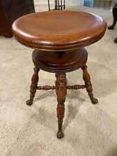 Antique Victorian adjustable height Piano Stool Glass Ball Claw Feet