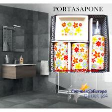 SET 4 ACCESSORI DA BAGNO PORTASAPONE DISPENSER SPAZZOLINI BATHROOM CERAMICA SOAP