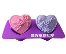 2-Rose Heart Love Cake Mold Soap Mold Silicone Mould For Candy Chocolate Cookie