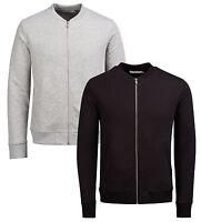 JACK & JONES Mens Baseball Zip Up Sweat Cardigan Cotton Cardi Top Black & Grey