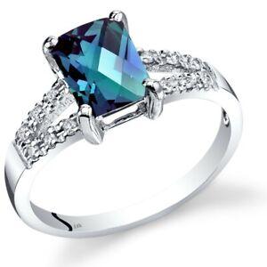 14K White Gold Created Alexandrite Diamond Venetian Ring 1.5 Carats Size 7