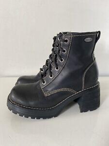 VTG 90s Y2K Skechers Black Leather platform chunky heel ankle boots Lace 6.5M