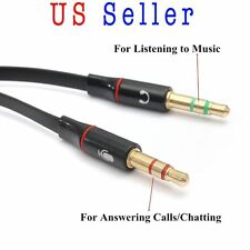Gold-Plated Audio Mic Y Splitter Cable Headphone Adapter Female to 2 Male 3.5mm