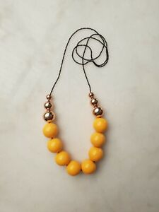 Handmade Acrylic Necklace Shiny Mustard with 6 Rose Gold/Copper Beads