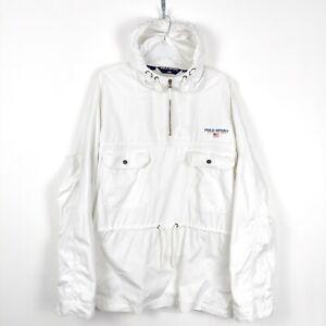 Polo Sport Ralph Lauren Vintage Men's White Cotton 1/4 Zip Anorak Size XL