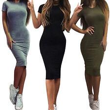 Damen Minikleid Bodycon Bleistift Kleid Tunika Partykleid Sommer Kleider Gr34-44