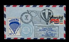 Oct 9 1976 Albuquerque NM Balloon Mail w/blue 10cent label CARRIED & SIGNED.