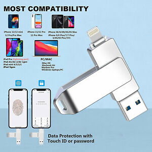 USB3.0 Flash Drive Memory Stick for Phone 12 11 X XR Laptop &PC Photo Storage