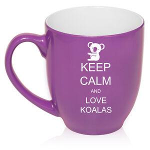 16oz Bistro Mug Ceramic Coffee Tea Glass Cup Keep Calm and Love Koalas