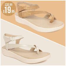 Jiansh Fashion Womens Cream Flats Ladies Sandals Low Heels Comfort Wedges 6 - 11