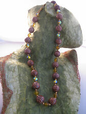 Rainbow Crystal Necklace Gold Tone Estate Costume Joan Rivers Leopard Bead