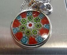 Sterling Silver .925 Murano Style Entourage Glass Pendant-  -Free Shipping