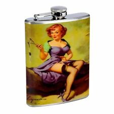 Pin Up Redhead Girl With Slingshot Flask D48 8oz Stainless Steel Purple Dress