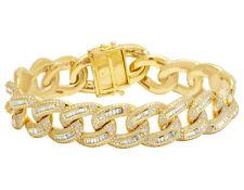 "Men's 10K Yellow Gold Solid Miami Cuban Link Diamond Bracelet 14 1/2Ct 17mm 8.5"""