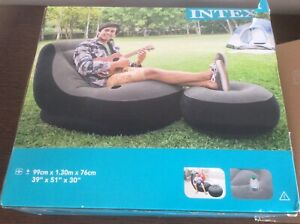 Intex Inflatable Chair Lounge with Footrest - Grey/Black (68564)