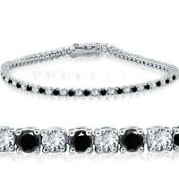 2ct Diamond Treated Black & White Tennis Bracelet 14K White Gold 7""