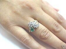 Fine Estate Green Colombian Emerald Diamond Ring Yellow Gold 14Kt