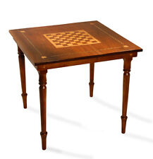 Folk Art Federal Antique Game Table Walnut & Maple Furniture Chess Card Table