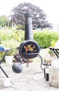Extra Large Steel Chiminea Outdoor Chimney in Bronze - Fire Pit
