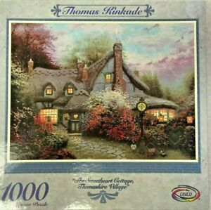 "Vintage Thomas Kinkade 1000 Piece Jigsaw Puzzle ""The Sweetheart Cottage"" Sealed"