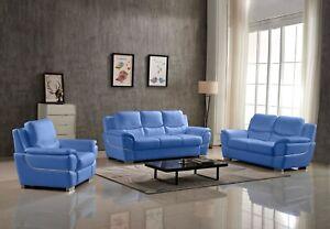 Kartier Leather Sofa Set (Blue)