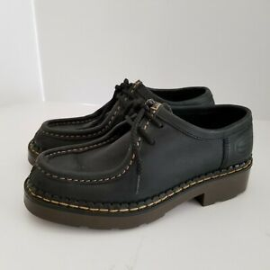 Skechers Womens 7 Shoes Black Leather Oxfords Mock Toe Two-Eye Lace-Up